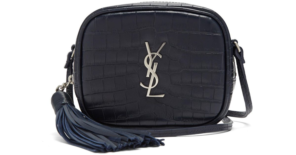4fb2fdf28c Lyst - Saint Laurent Monogram Blogger Leather Cross-body Bag in Blue