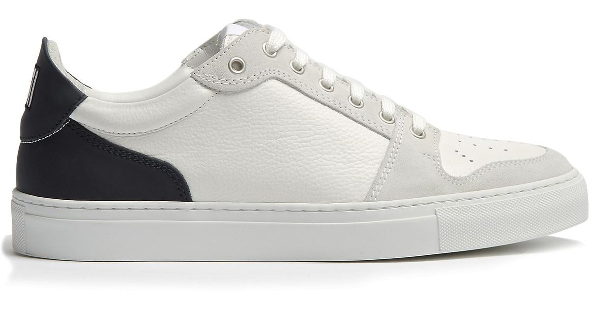 Contrast-panel low-top leather and suede trainers Ami goCRKJvz
