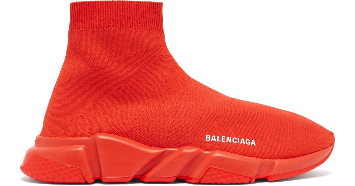 3d3a9fed99a0 Balenciaga Speed Red Stretch-knit Trainers in Red for Men - Save 6% - Lyst