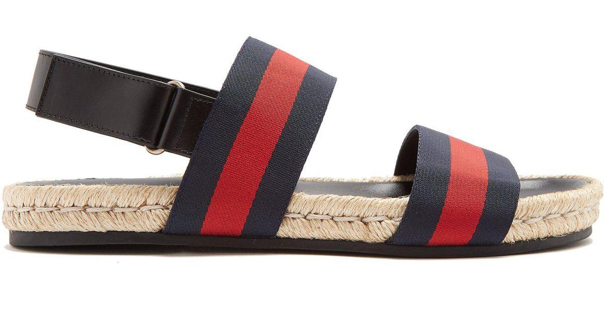 4c61efdb5efa Lyst - Gucci Web-stripe Sandals in Blue for Men