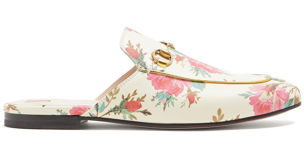 7c5372ea4ca Lyst - Gucci Princetown Floral-print Backless Loafers