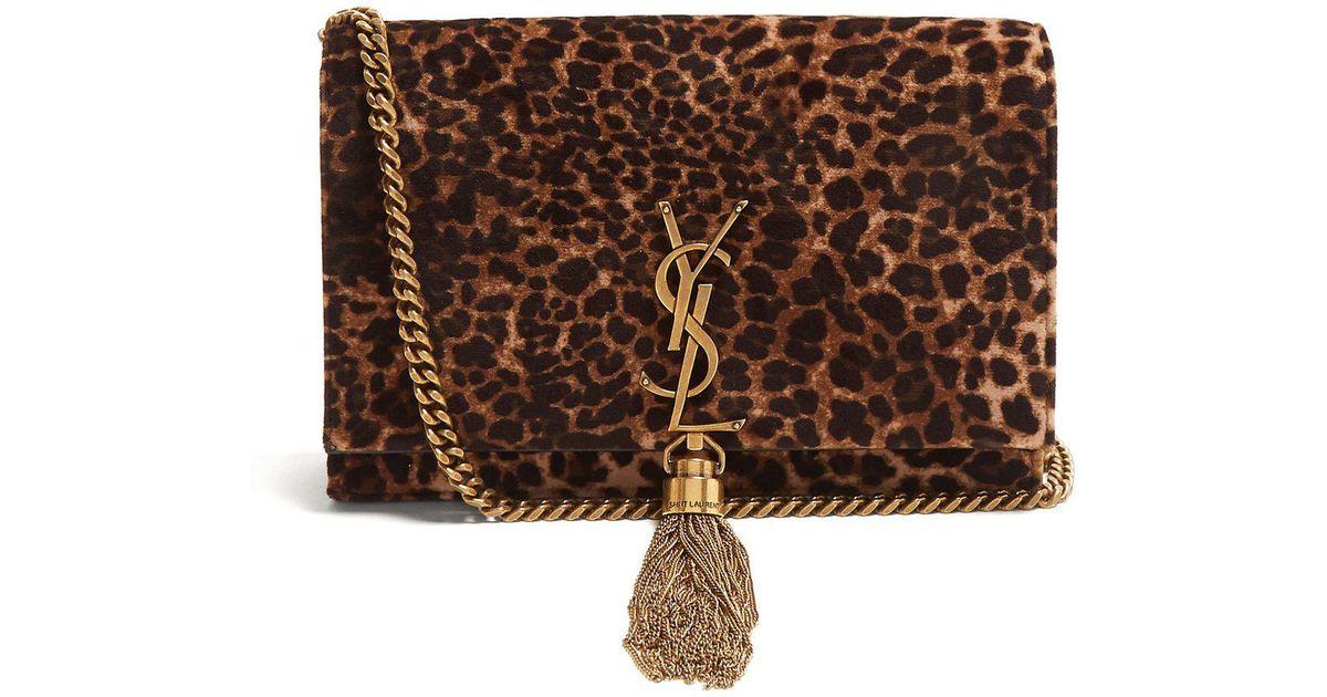 a81b31cae599 Lyst - Saint Laurent Kate Small Leopard Print Velvet Cross Body Bag in Brown
