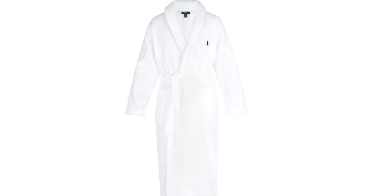 0437df9dbb Polo Ralph Lauren Logo Embroidered Terry Towelling Cotton Bathrobe in White  for Men - Lyst