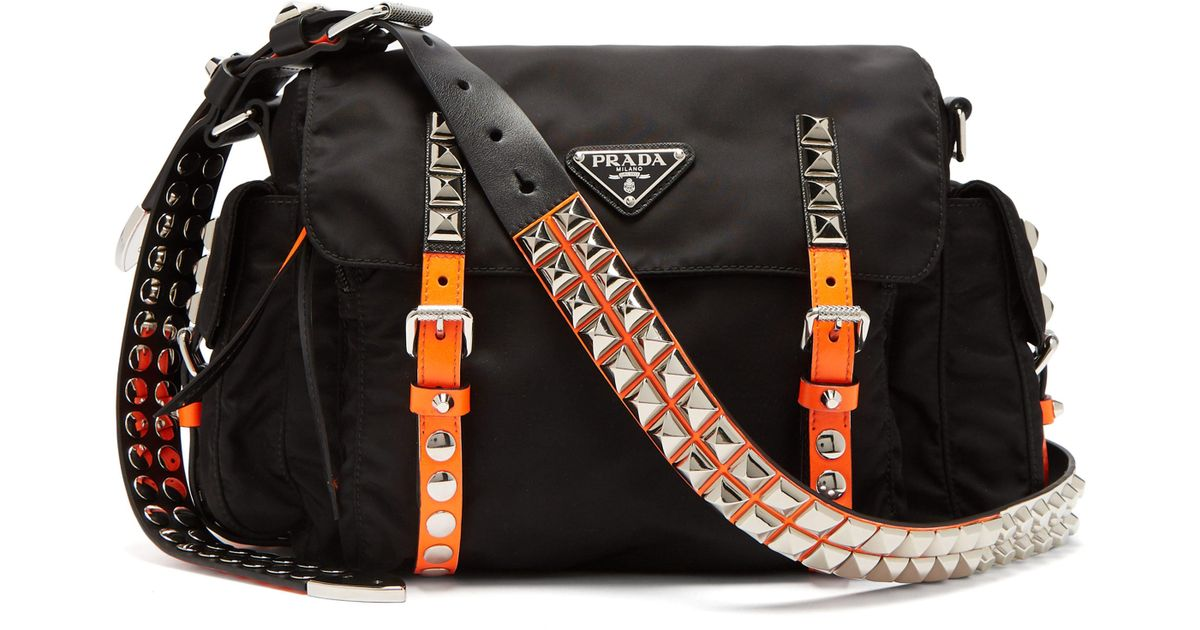 751f0f41634ba9 Prada New Vela Studded Nylon Shoulder Bag in Black - Lyst