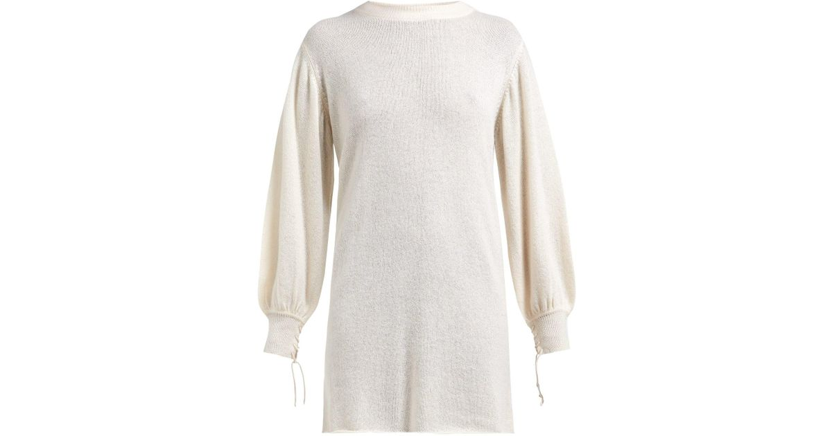 Lyst - Ryan Roche Balloon Sleeve Cashmere Sweater in White 32286df92