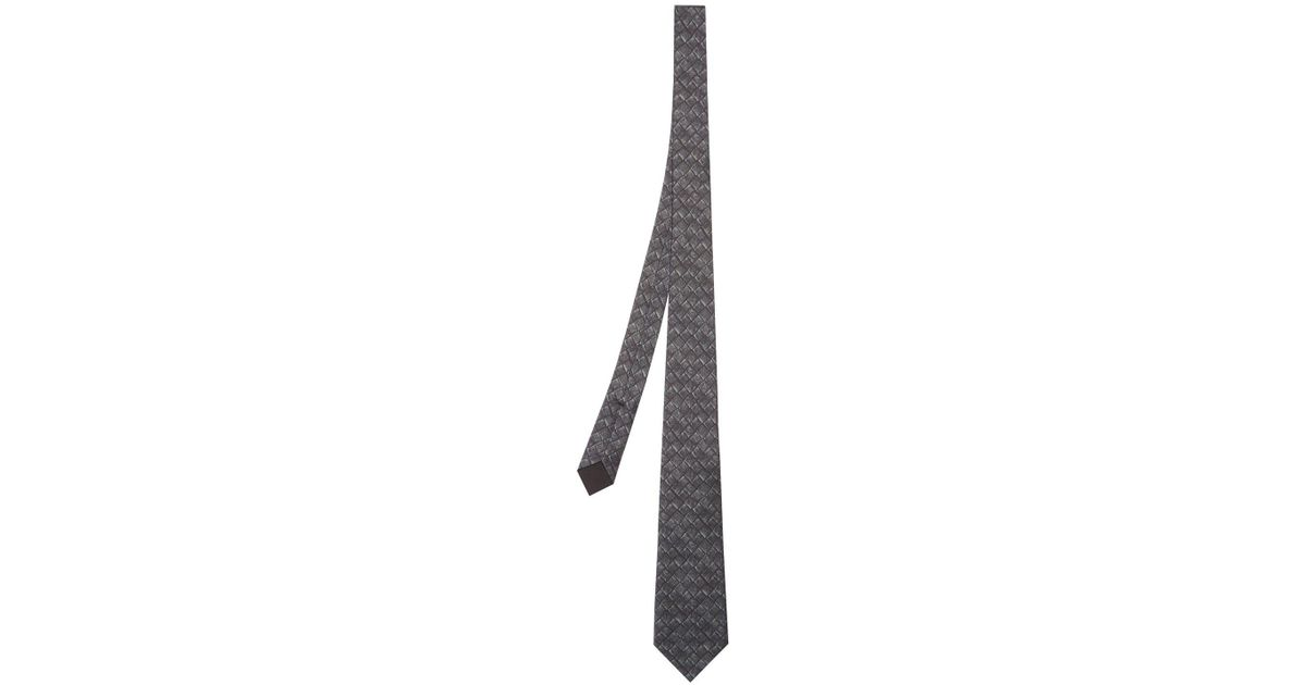 b29b6f8df1956 Lyst - Bottega Veneta Intrecciato Print Silk And Cotton Blend Tie in Black  for Men