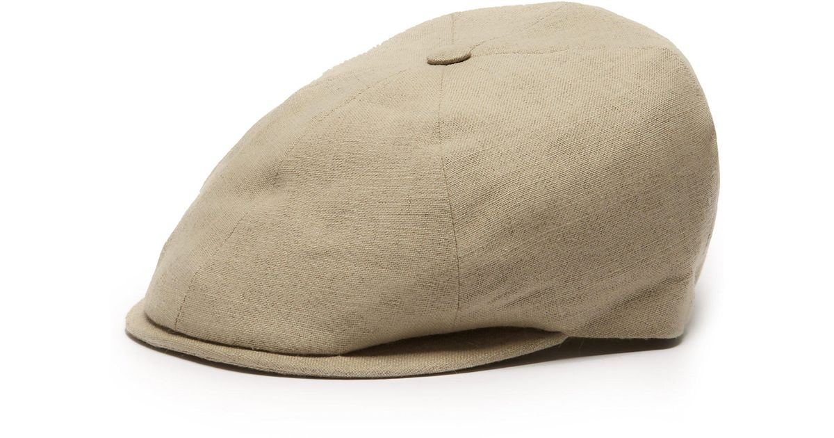 65e053ae012 Lock   Co. Reverb Linen Canvas Flat Cap in Natural for Men - Lyst