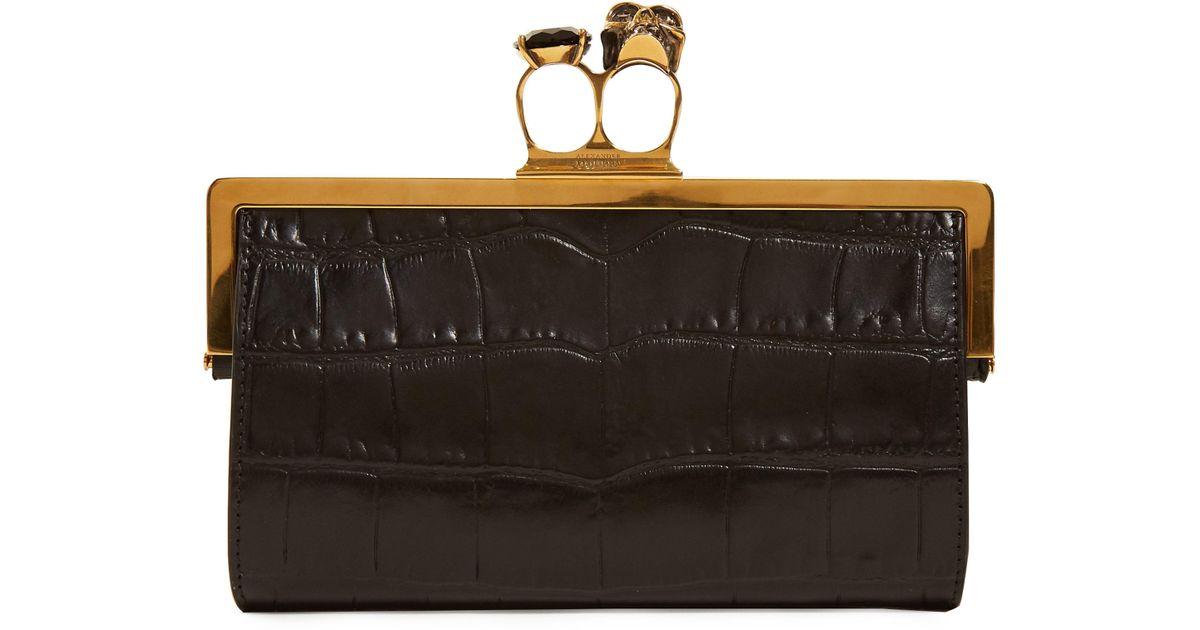 Lyst - Pochette bagues en cuir effet crocodile Alexander Mcqueen en coloris  Noir 703c575d7a1