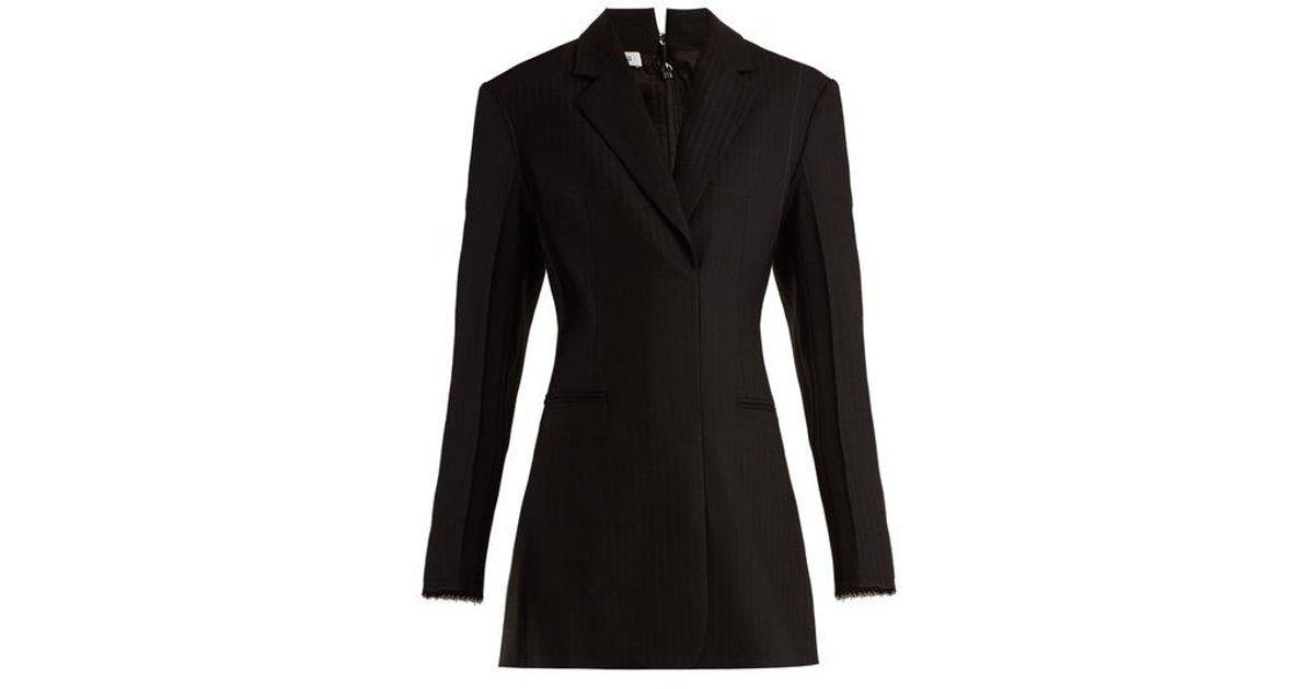 0c8fec5e625a Helmut Lang Single-breasted Wool-blend Mini Dress in Black - Lyst