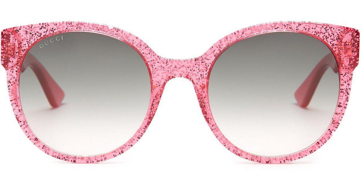 30961a5872 Lyst - Gucci Round Frame Glitter Acetate Sunglasses in Pink