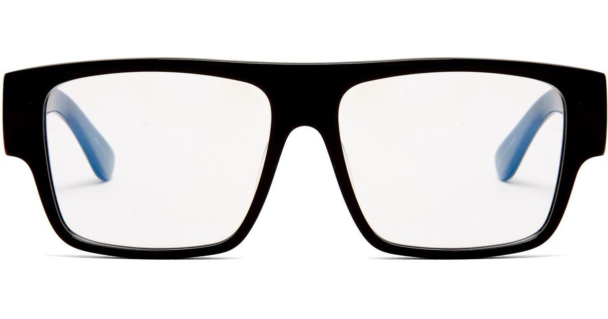 e574604e36 Lyst - Saint Laurent Flat Top Square-frame Acetate Glasses in Black