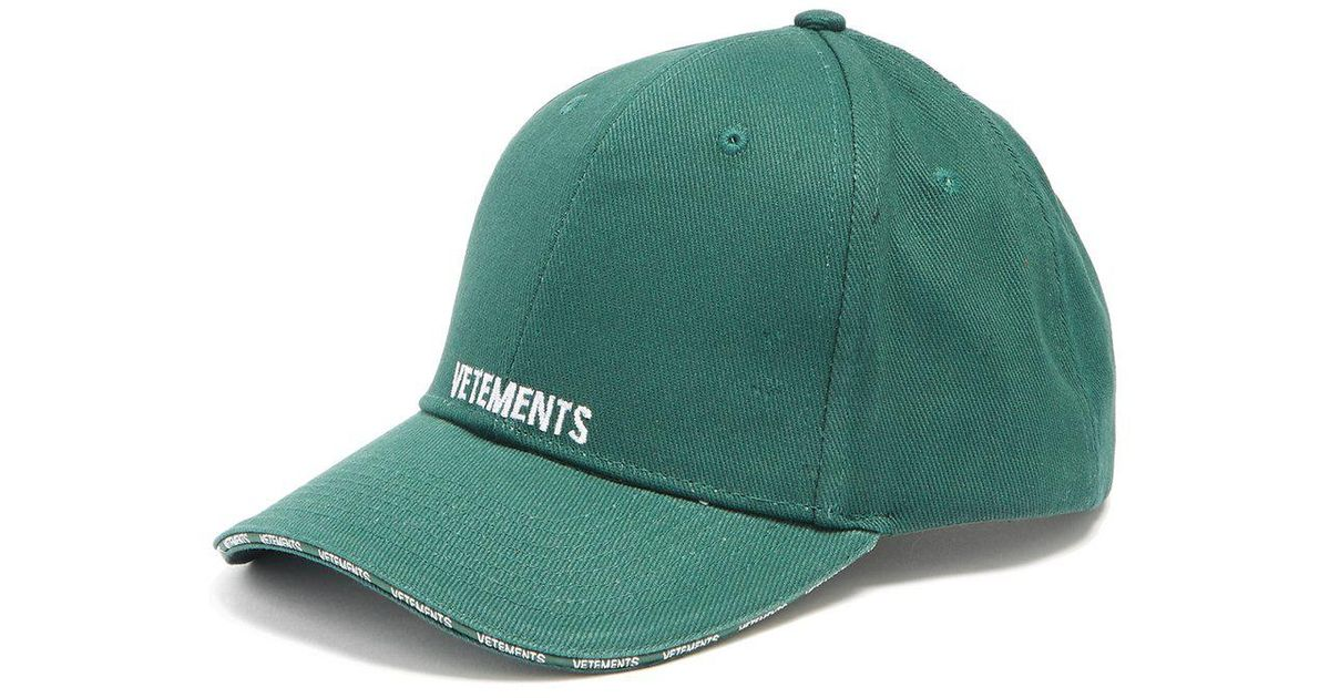 80e0a475583e84 Vetements Logo-embroidered Cotton Cap in Green for Men - Lyst