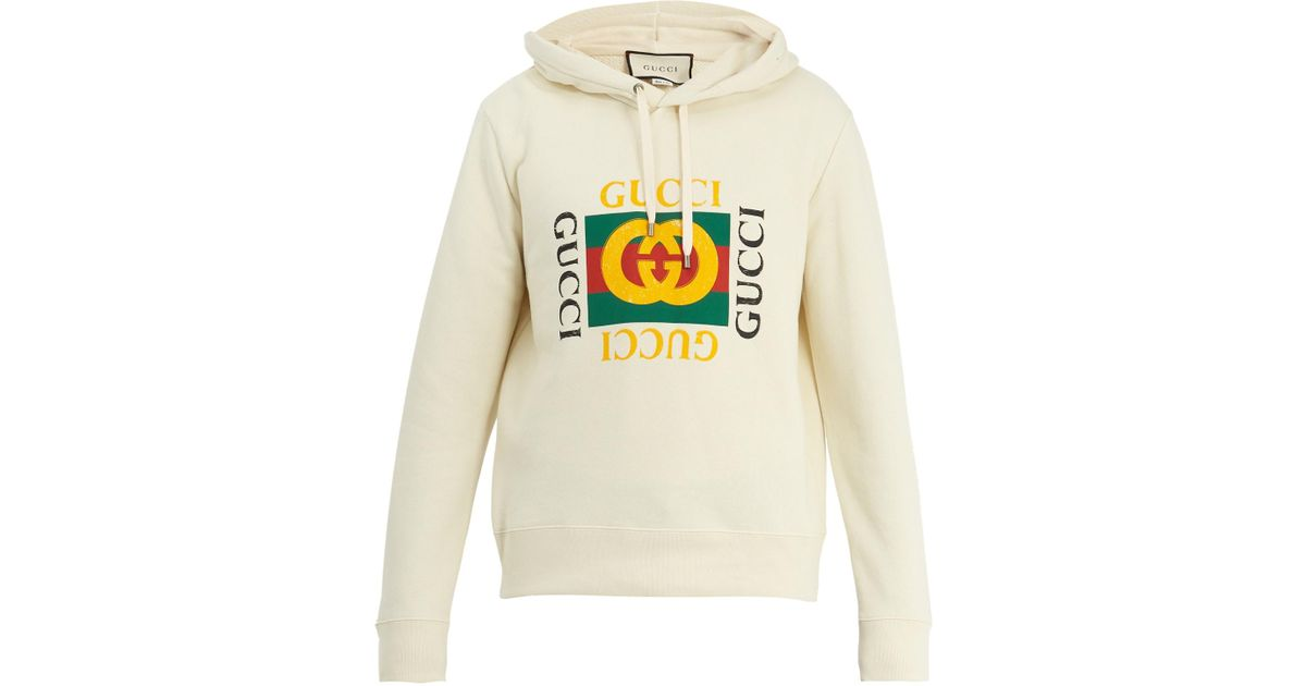 c88042f1 Gucci Logo-print Cotton-jersey Hooded Sweatshirt for Men - Lyst
