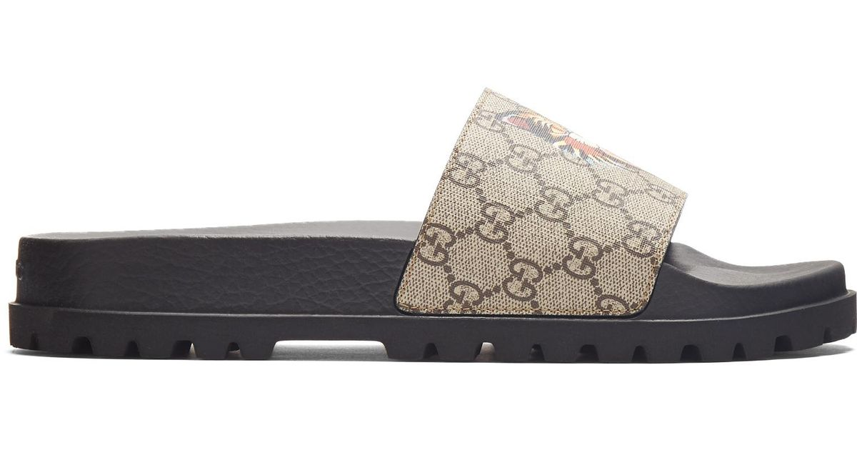 de539ff32be Lyst - Gucci Pursuit Track Angry Cat-print Gg Supreme Slides for Men