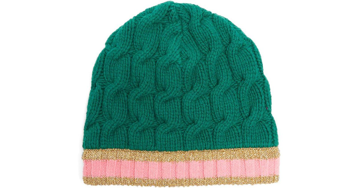 Lyst - Gucci Cable Knit Beanie Hat in Green dbe86b19f04