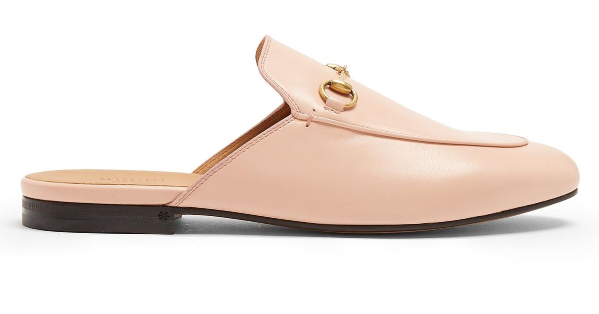 03234e9edae Lyst - Gucci Princetown Leather Backless Loafers in Pink