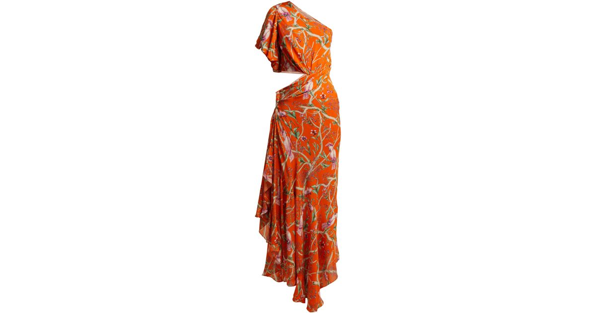 46ea4881c59 Johanna Ortiz Firefly Silk Georgette Dress in Orange - Lyst