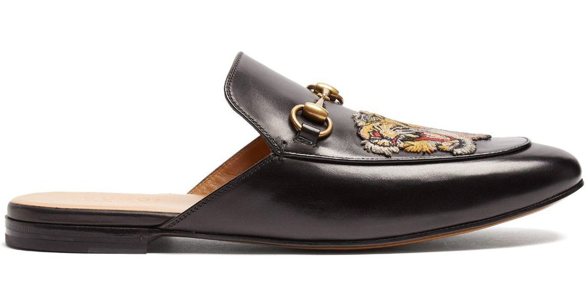 c6a736e21bf Lyst - Gucci Princetown Tiger-appliqué Leather Backless Loafers in Black  for Men