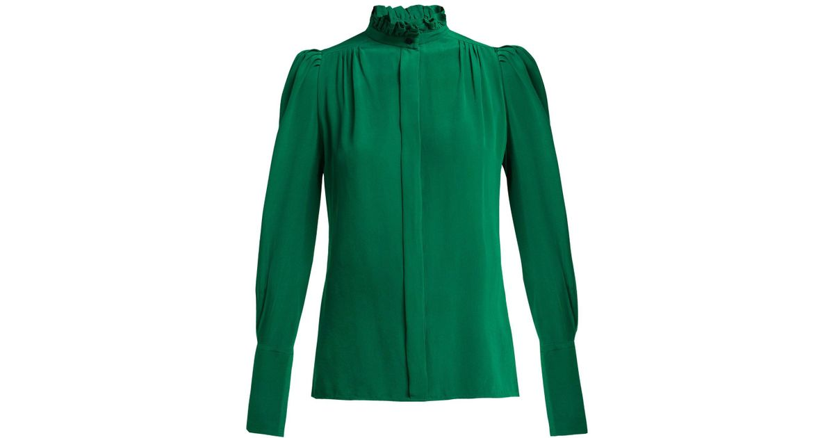 f15ad3cf345f19 Lyst - Isabel Marant Lamia Ruffle-trim Silk Blouse in Green