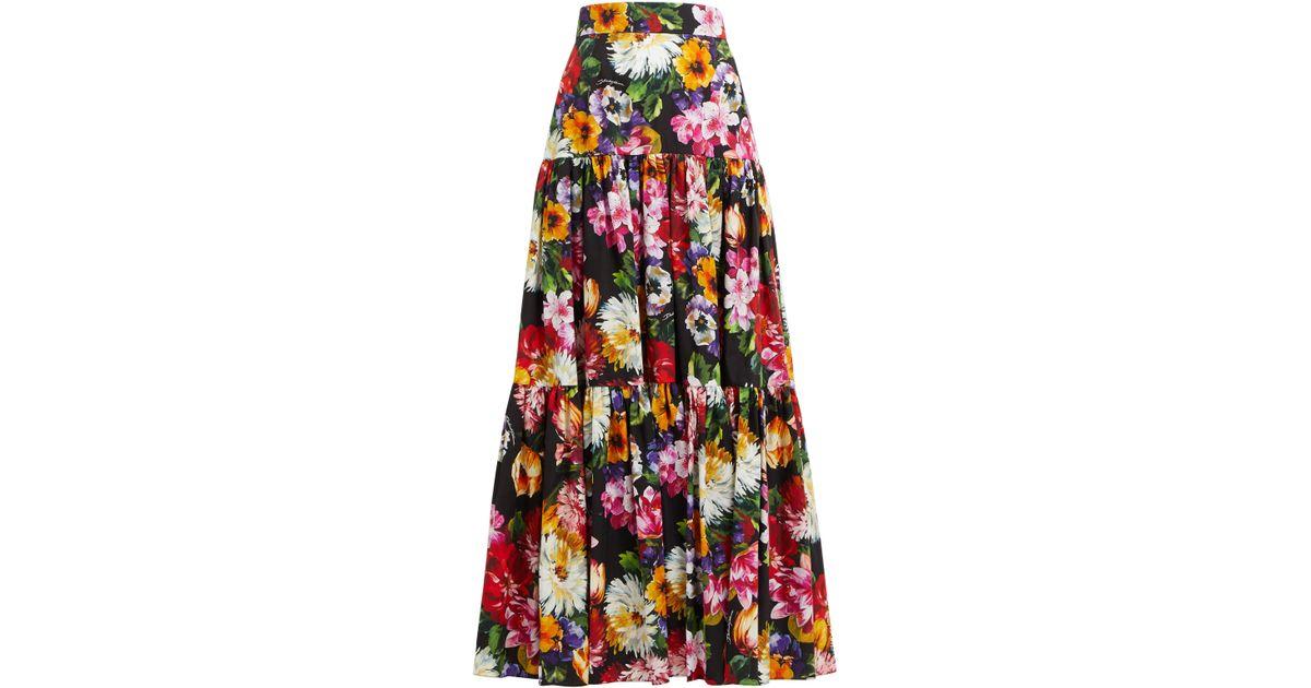 8db6142456 Dolce & Gabbana Floral Print Skirt in Black - Save 25% - Lyst