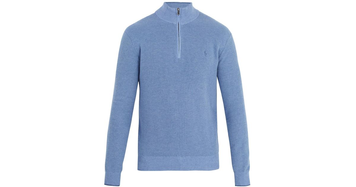 Polo ralph lauren Half-zip Logo-embroidered Pima-cotton Sweater in ...