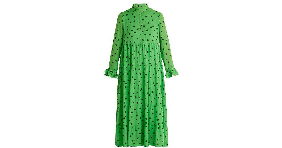 Print Crepe Green Dainty Georgette Polka Dot Ganni Dress In Lyst HUnAxRxI