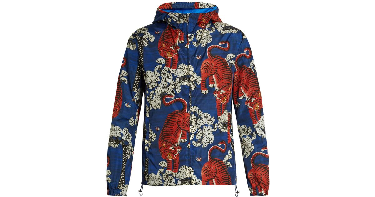 ece38d980 Gucci Tiger Print Hooded Jacket In Blue For Men Lyst