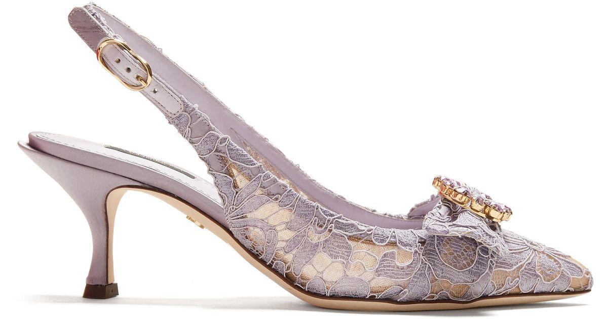 73de3071a40 Dolce   Gabbana Lori Crystal-embellished Lace Kitten-heel Pumps in Purple -  Lyst