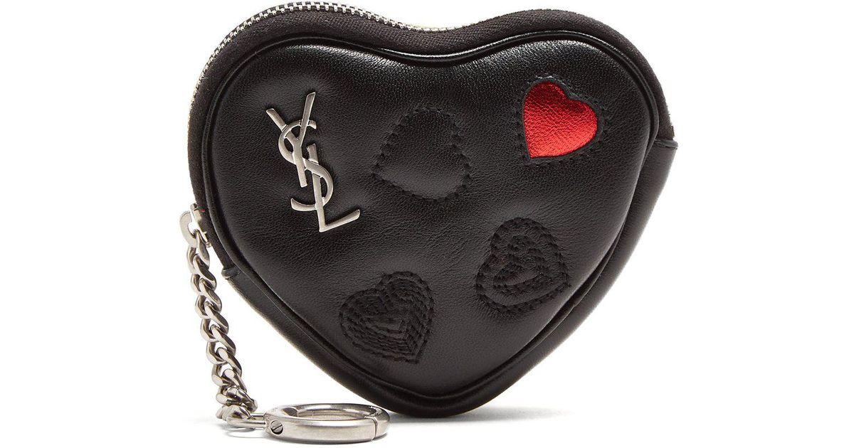 d0d22f9fbf0a Lyst Saint Lau Love Heart Shaped Leather Coin Purse In Black