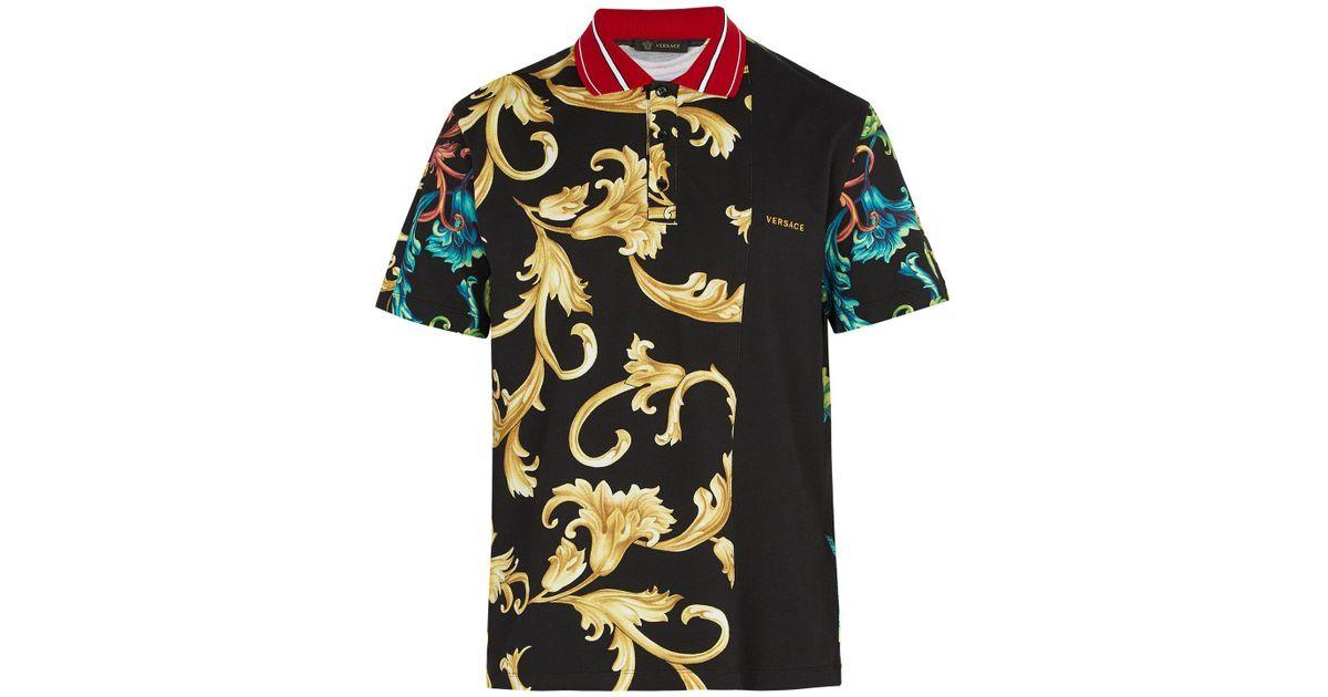 787d1ead8c05 Lyst - Versace Baroque-print Cotton Polo Shirt for Men