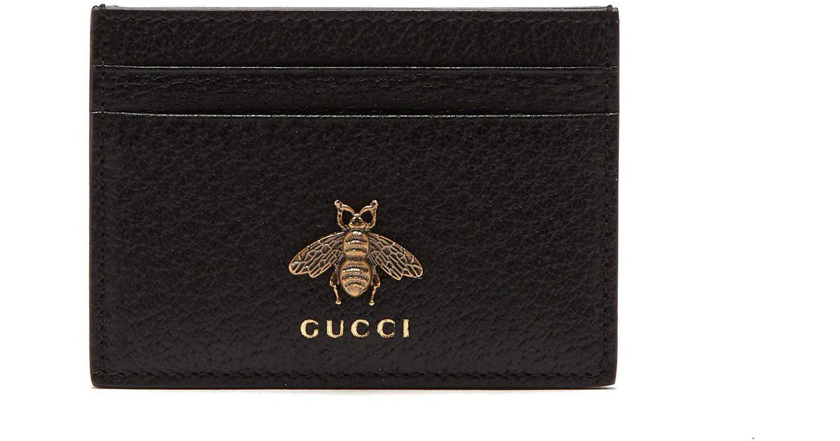 e3b02d6309a3a6 Gucci Bee Embellished Leather Cardholder in Black for Men - Lyst