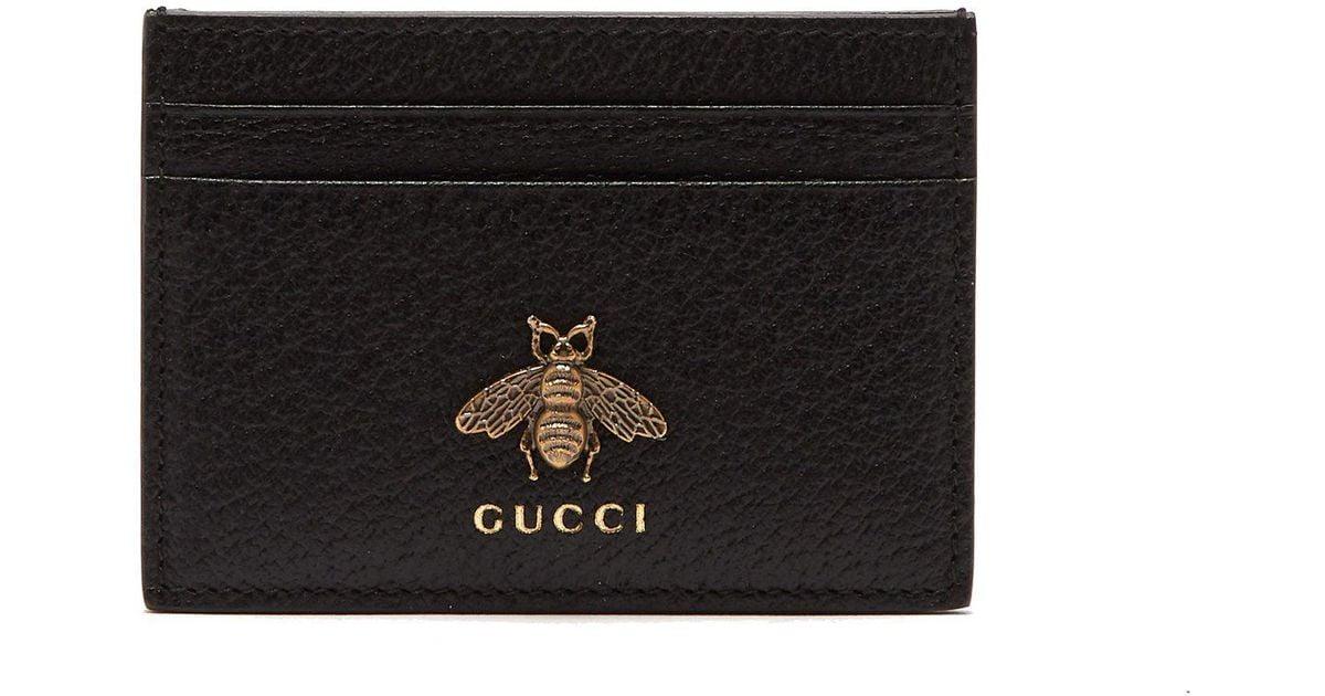 aaff2ec543d5 Gucci Bee Embellished Leather Cardholder in Black for Men - Lyst