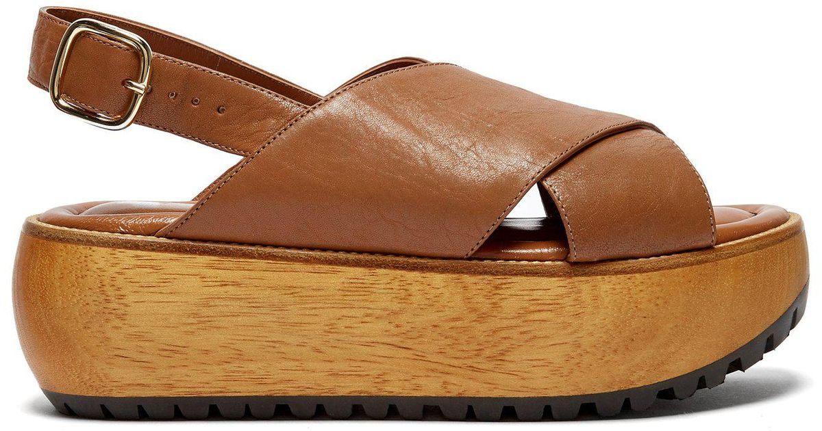 e8d00617235a Lyst - Marni Cross Strap Grained Leather Flatform Sandals in Brown