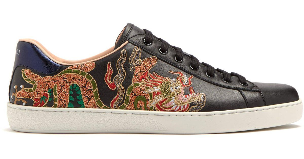 96ed791efa9 Lyst - Gucci Ace Dragon-embroidered Low-top Leather Trainers in Black for  Men