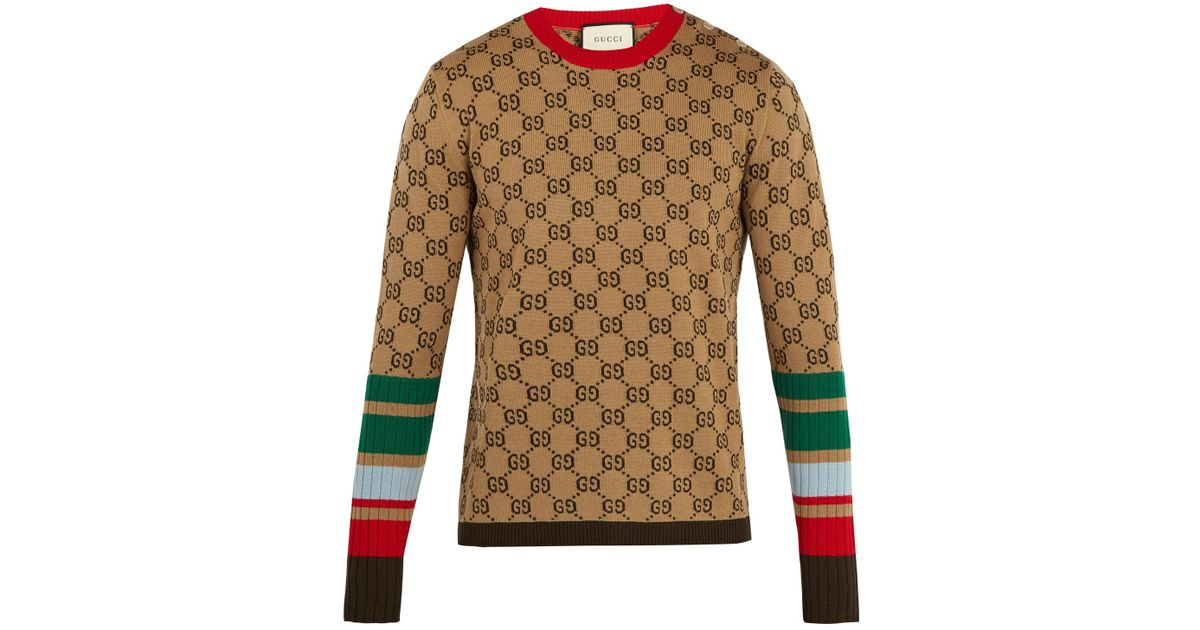 6ec5ba8ffee Gucci Gg-jacquard Crew-neck Wool Sweater in Natural for Men - Lyst