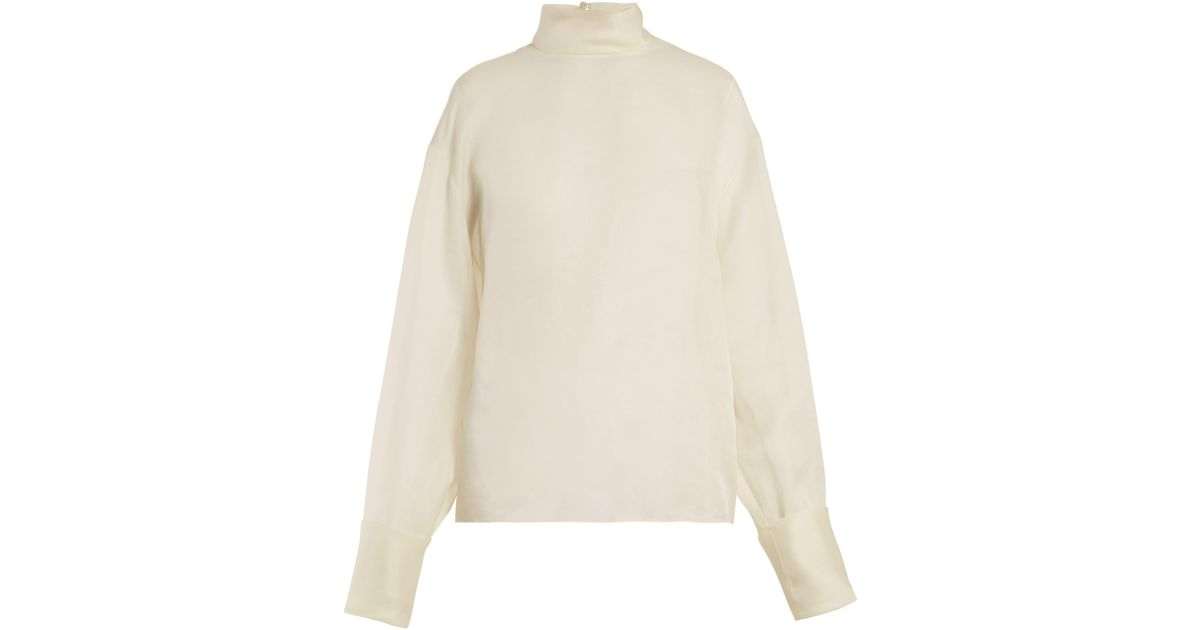 f941200517c219 The Row Karlee Silk Organza Blouse in White - Lyst