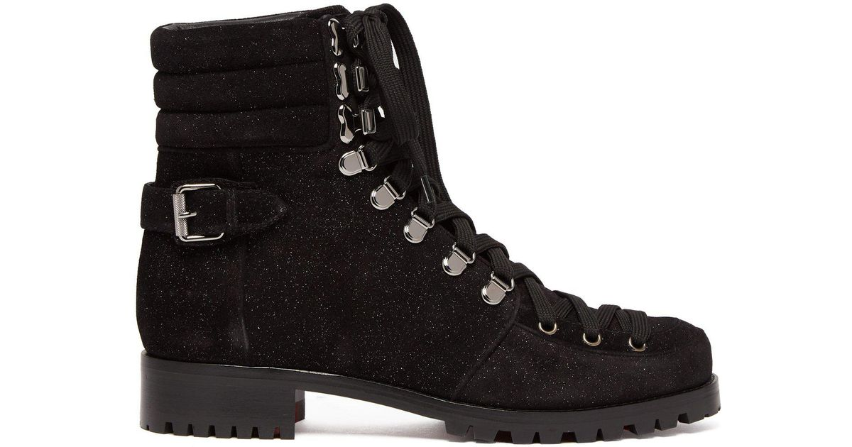 3f9630e309a2 Lyst - Christian Louboutin Who Runs Glitter Suede Hiking Boots in Black