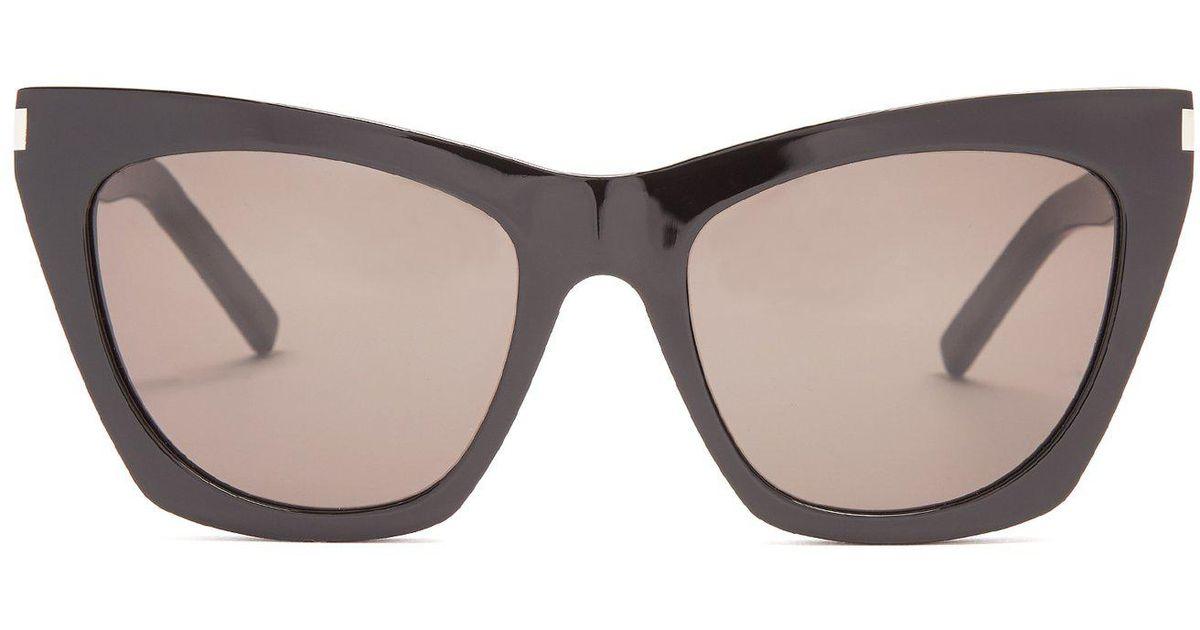 e203cb58caf Lyst - Saint Laurent Kate Square Cat-eye Frame Acetate Sunglasses in Black
