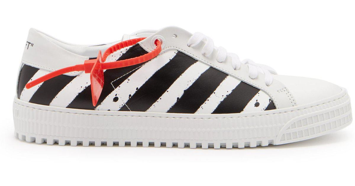 6570a288178a Lyst - Off-White c o Virgil Abloh Striped Low Top Leather Trainers in White  for Men