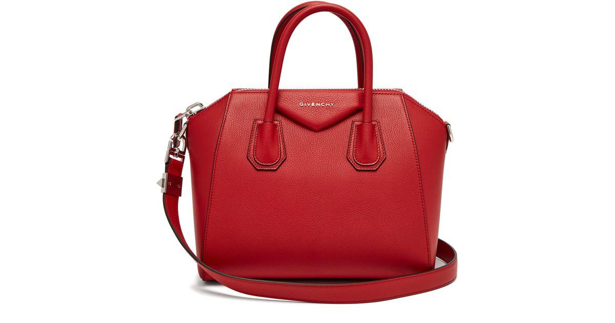 Antigona Small En Coloris Givenchy Sac Grainé Cuir Lyst Rouge 9DHWE2IY