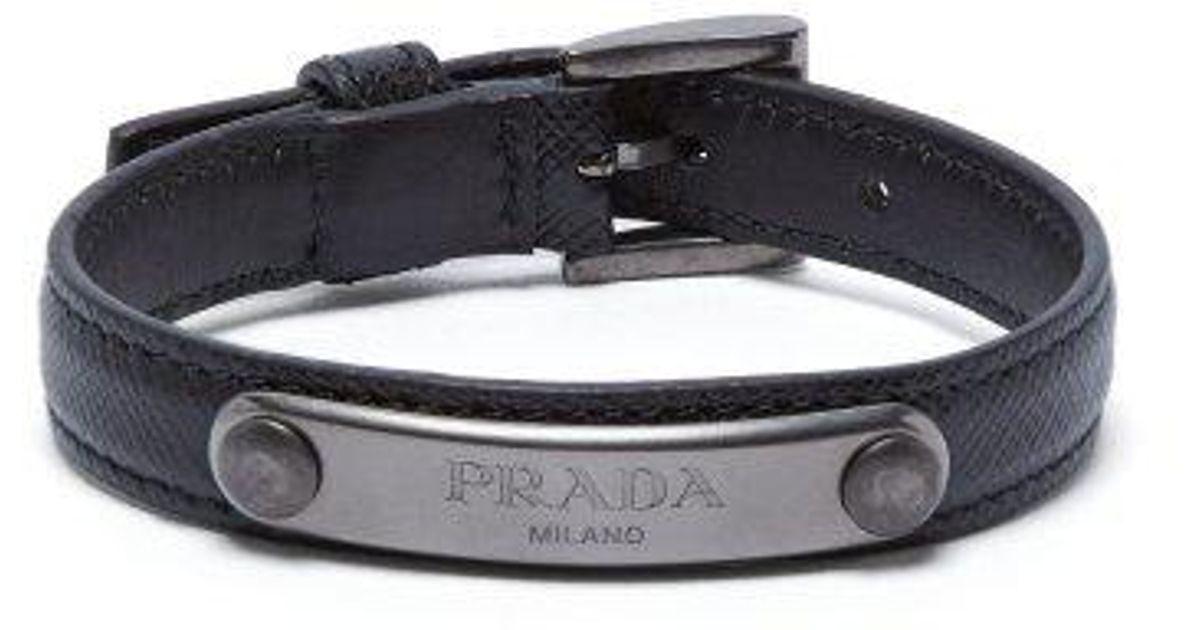 Prada Logo-plaque saffiano-leather bracelet PIKowvgi