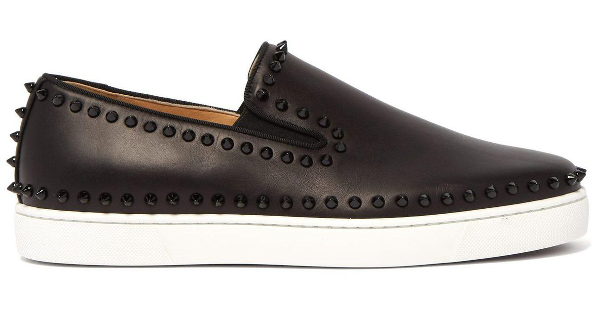 753e0358770 Lyst - Christian Louboutin Boat Stud Embellished Leather Slip On Trainers  in Black for Men