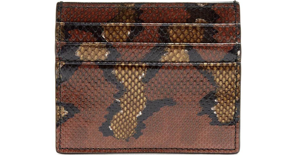 adcf12261ba5 Bottega Veneta Watersnake Cardholder in Brown - Lyst
