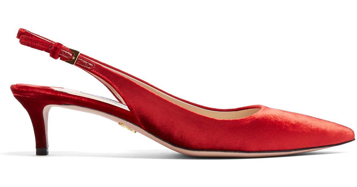 prada point toe slingback kitten heel velvet court shoes in red lyst. Black Bedroom Furniture Sets. Home Design Ideas