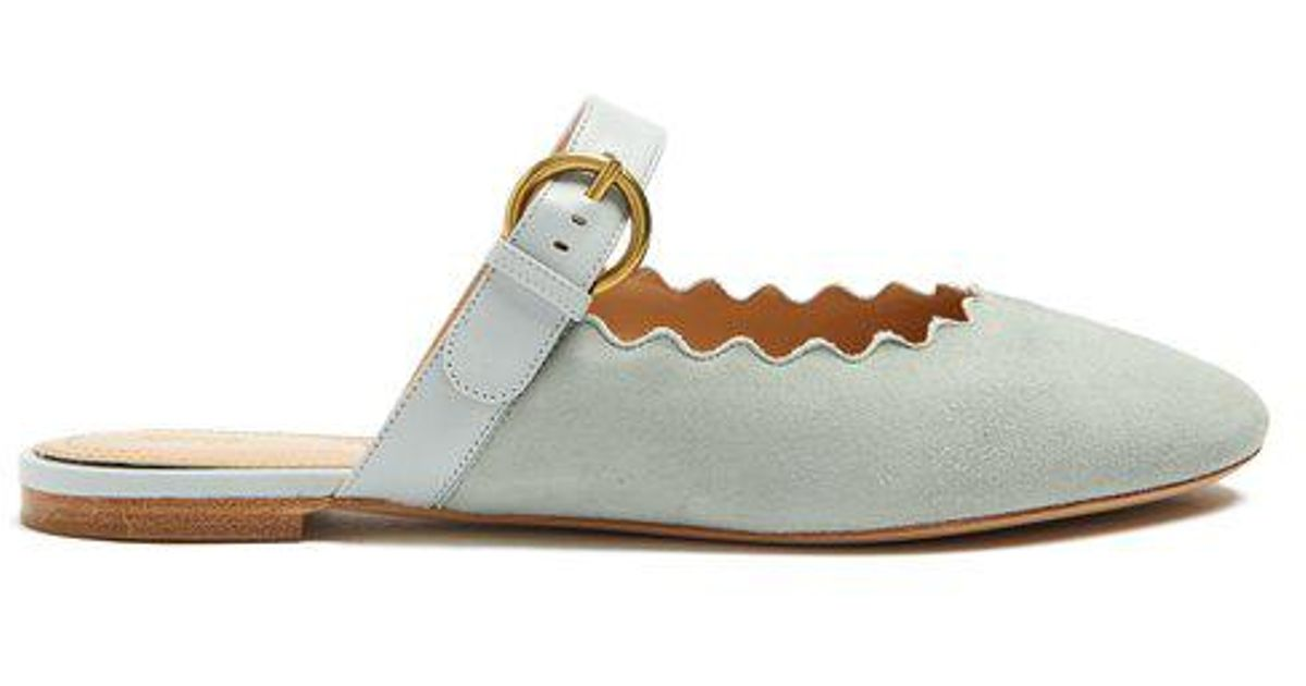 Chloé Lauren scallop-edged suede blackless loafers