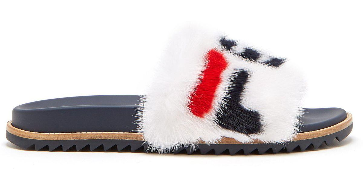 45373b38a062 Lyst - Fendi Mania Mink And Leather Slides for Men - Save 43%