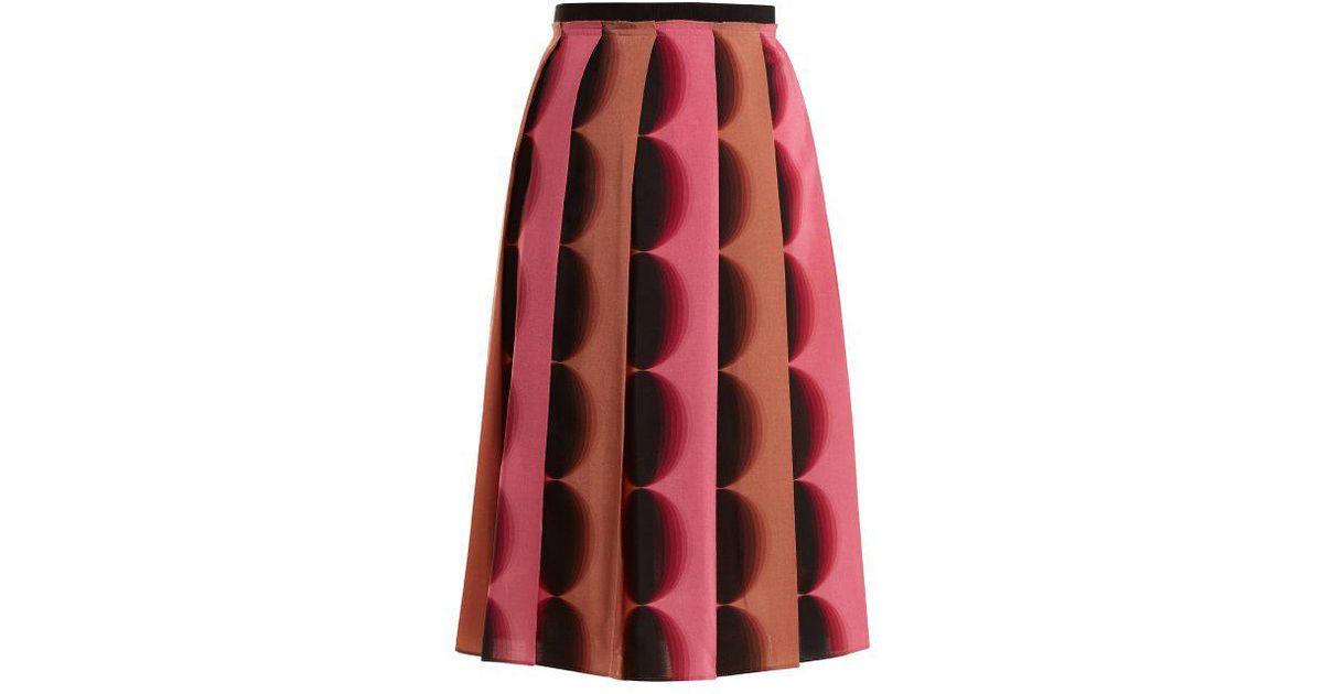 bf3106c7ac Marco De Vincenzo Geometric-print Pleated Silk Skirt in Pink - Lyst