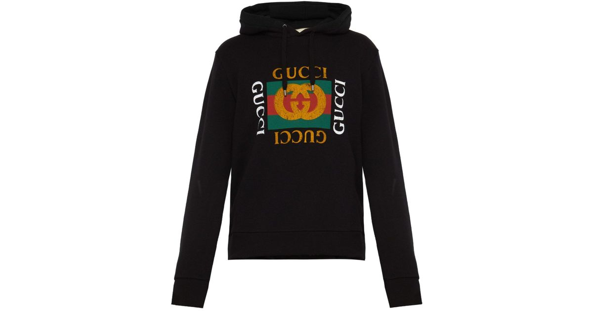 750b87f3a Lyst - Gucci Cotton Sweatshirt With Logo in Black for Men - Save 21%