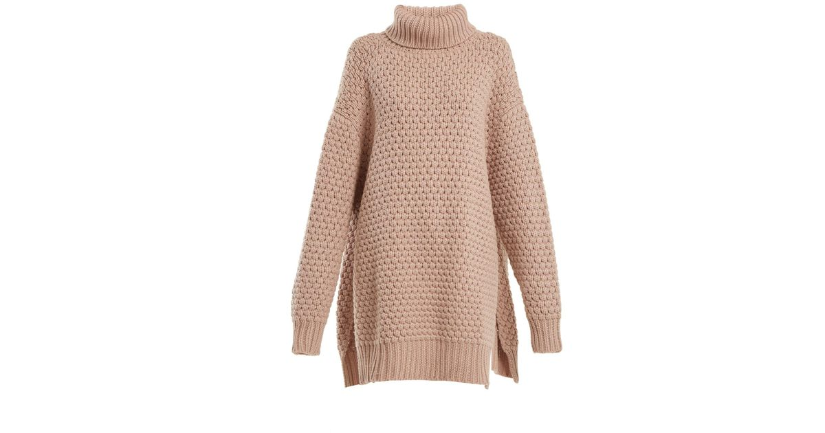 cef709318 Raey Split Side Roll Neck Bubble Knit Cashmere Sweater in Natural - Lyst