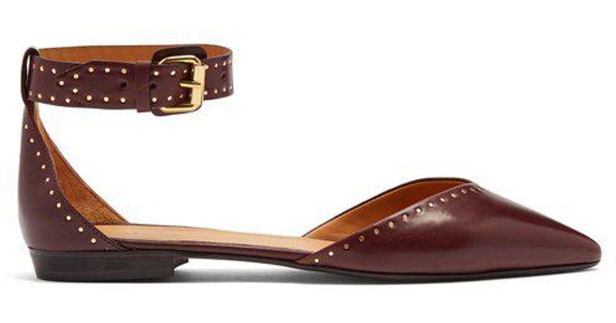 daf9d6671d8 Isabel Marant Lya Stud-embellished Point-toe Leather Flats in Brown - Lyst